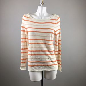 Tory Burch Striped Long Sleeve Sweater Top Large